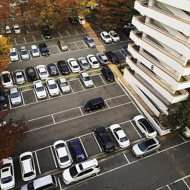 View of a car park from above